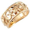 ピンキーリング ハワイアンジュエリー リング 指輪 幅広 透かし ミル打ち ピンクゴールドk10 ハワイアンリング 地金リ…