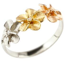 ハワイアンジュエリー 婚約指輪 安い 婚約指輪 エンゲージリング ハワイアン プラチナ ダイヤモンド 花 18金 pt900 k18yg k18pg ダイヤ ストレート 女性