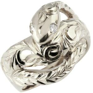 ハワイアンジュエリー ピンキーリング 蛇 プラチナ リング ダイヤモンド ダイヤ スネーク 指輪 レディース ハワイアンリング pt900 送料無料
