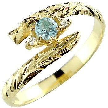 ピンキーリング ハワイアンジュエリー リング ブルートパーズ イエローゴールドk18 指輪 ハワイアンリング 11月誕生石 18金 k18 ストレート 宝石