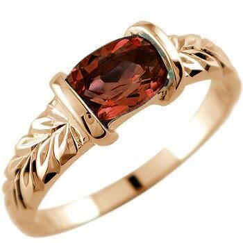 ピンキーリング ハワイアンジュエリー ガーネット リング 指輪 ピンクゴールドk18 18金 ストレート 宝石 Xmas Christmas