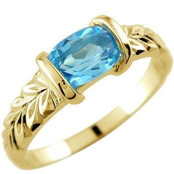 ピンキーリング ハワイアンジュエリー ブルートパーズ リング 指輪 イエローゴールドk18 18金 ストレート 宝石
