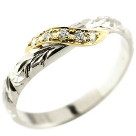 ハワイアンジュエリー ピンキーリング ダイヤモンド シルバー925 リング イエローゴールドk18 指輪 ハワイアンリング 18金 妻 嫁 奥さん 女性 彼女 娘 母 祖母 パートナー