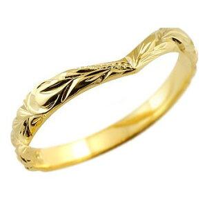 婚約指輪 ハワイアンジュエリー イエローゴールドk10リング 指輪 ハワイアンリング V字 k10 レディース プレゼント 女性 ペア 送料無料