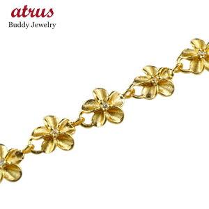 ハワイアンジュエリー ブレスレット レディース ハワイアン ダイヤモンド 花 イエローゴールドk18 18金 ダイヤ シンプル 人気 送料無料