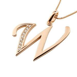 イニシャル ネーム メンズ W ネックレス トップ ダイヤモンド ピンクゴールドk10 ペンダント アルファベット チェーン 人気 男性 10金 ダイヤ 贈り物 誕生日プレゼント ギフト ファッション エ