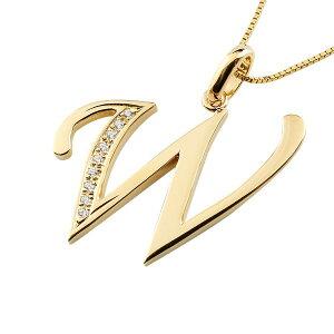 イニシャル ネーム メンズ W ネックレス トップ キュービックジルコニア イエローゴールドk18 ペンダント アルファベット チェーン 男性 18金 贈り物 誕生日プレゼント ギフト ファッション 18