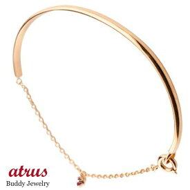 メンズ ルビー ブレスレット 一粒 ピンクゴールドk18 シンプル 7月誕生石 18金 宝石 送料無料
