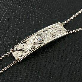 ハワイアンジュエリー メンズ ブレスレット プレート ブルームーンストーン シルバー ダイヤモンド ミル打ち ダイヤ 宝石 送料無料