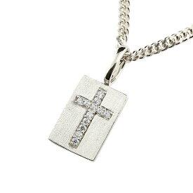 喜平用 メンズ プレート クロス ネックレス キュービックジルコニア プラチナ ペンダント 十字架 チェーン エンゲージリングのお返し