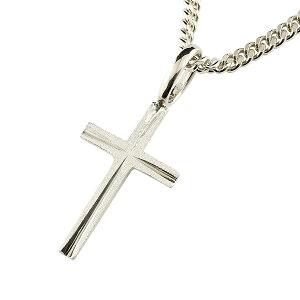 メンズ クロス ネックレス プラチナ 喜平用 ペンダント トップ 十字架 地金 シンプル ホーニング加工 マット仕上げ 男性用 エンゲージリングのお返し 送料無料 の