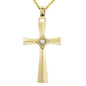 ゴールド ネックレス メンズ トップ 喜平用 ブルームーンストーン クロス つや消し ペンダントトップ イエローゴールドk10 十字架 チェーン キヘイ 送料無料
