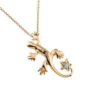ネックレス トップ メンズ トカゲ ネックレス トップ ブルートパーズ ブラックダイヤモンド ペンダント ピンクゴールドk18 18金 星 11月誕生石ダイヤ 男性用 宝石 青い宝石
