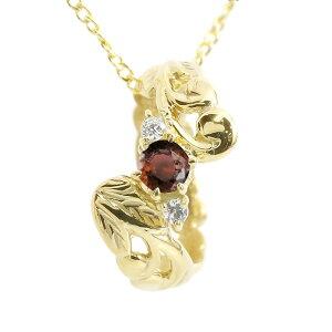 ハワイアンジュエリー メンズ ネックレス ガーネット ダイヤモンド ベビーリング イエローゴールドk10 チェーン ネックレス 男性用 10金 プレゼント 赤い宝石