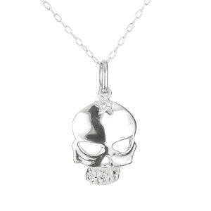 ネックレス メンズ ダイヤモンド ネックレス 一粒 ホワイトゴールドk18 ダイヤ ペンダント トップ ドクロ スカル 髑髏 k18 18金 チェーン 人気 の 送料無料