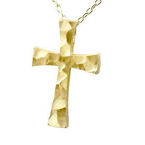 ネックレス メンズ クロス イエローゴールドK18 ペンダント トップ 十字架 シンプル 18金 男性用 地金 ロック仕上げ 岩 人気 の 送料無料