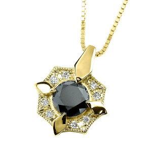 メンズ ネックレス ブラックダイヤモンド シンプル 30代 イエローゴールドk18 ダイヤ ペンダント トップ 18金 ミル打ち シールド ベネチアンチェーン 男性用 人気 の 送料無料