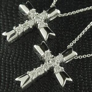 ネックレス トップ メンズ ペアネックレス トップ ペアペンダント クロス 十字架 ダイヤモンド ホワイトゴールドk18 チェーン 人気 18金 ダイヤ カップル 男性用 シンプル