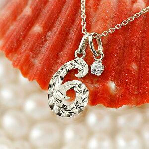 ハワイアンジュエリー ネックレス メンズ 数字 6 ダイヤモンド ネックレス ペンダント トップ ホワイトゴールドk18 ナンバー チェーン 人気 4月誕生石 18金 の 送料無料