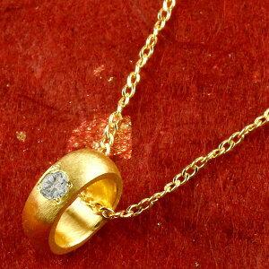 ネックレス メンズ 純金 ベビーリング ダイヤモンド 一粒 ペンダント 誕生石 出産祝い ネックレス 4月誕生石 甲丸 24金 ゴールド k24 人気 送料無料