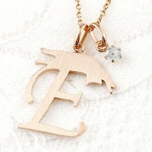 メンズ イニシャル ネーム E 猫 ネックレス トップ ブルームーンストーン ピンクゴールドk18 ペンダント アルファベット ネコ ねこ 18金 チェーン 人気 送料無料