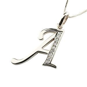 イニシャル ネーム メンズ A ネックレス トップ キュービックジルコニア ホワイトゴールドk18 ペンダント アルファベット チェーン 人気 男性 18金 送料無料