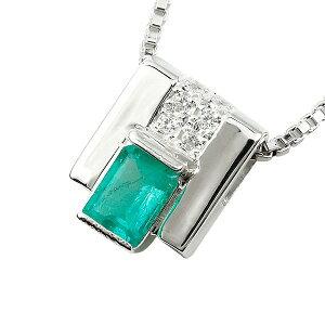 プラチナ ネックレス メンズ エメラルド ダイヤモンド スクエア ペンダント トップ 男性用 緑宝石 の 送料無料 人気