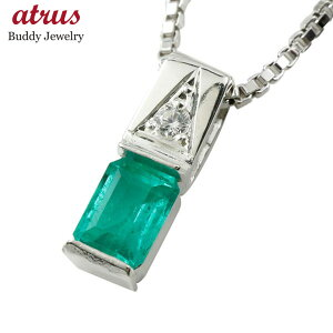 18金 18k メンズネックレス ホワイトゴールドK18 エメラルド ダイヤモンド スクエア ペンダント トップ 男性用 シンプル 緑宝石 の 送料無料