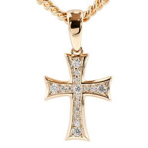 喜平用 メンズ ダイヤモンド ネックレス トップ クロス ピンクゴールドk18 ペンダント 十字架 18金 シンプル ダイヤ 男性用 キヘイチェーン 人気