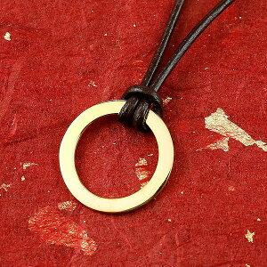 ネックレス メンズ 純金 24金 ゴールド リング 24K 喜平 ネックレス k24 輪っか 革ひも リングネックレス キーリングアクセ キーリングデザイン の 送料無料