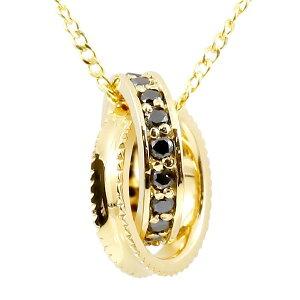 ネックレス メンズ ブラックダイヤモンド ネックレス メンズ イエローゴールドk10 ダイヤリングネックレス ミル打ち エタニティー 10金 の 送料無料