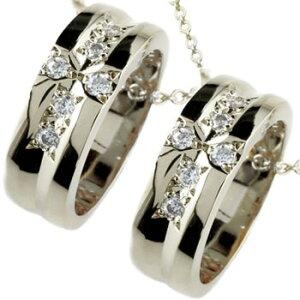 ペアネックレス クロスリング ダイヤモンド ペンダント ホワイトゴールドk18 ダイヤ リングネックレス 18金 チェーン 人気 ストレート カップル 送料無料