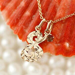 ハワイアンジュエリー メンズ 数字 8 ガーネット ネックレス ペンダント トップ ピンクゴールドk18 ナンバー チェーン 人気 1月誕生石 18金 赤い宝石 の 送料無料