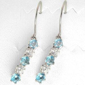 プラチナ ピアス メンズ ブルートパーズ ダイヤモンド ダイヤ フックピアス 天然石ダイヤ 男性用 宝石 揺れるピアス 青い宝石 送料無料