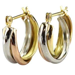 プラチナ 18金 ピアス メンズ 3連ピアス イエローゴールド ピンクゴールド フープピアス k18 男性用 リングピアス 送料無料