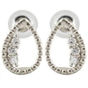 ピアス メンズ アンティーク ダイヤモンドピアス トリロジー ホワイトゴールドk18 18金 天然石ダイヤ 男性用 宝石 送料無料