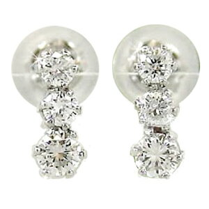 18金 ピアス メンズ ダイヤモンド ダイヤピアス トリロジー ホワイトゴールドk18 スリーストーン 天然石ダイヤ 男性用 宝石 送料無料