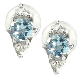 18金 ピアス メンズ サンタマリアアクアマリンピアスダイヤモンド ダイヤ ホワイトゴールドk18 3月誕生石男性用 宝石 青い宝石 送料無料