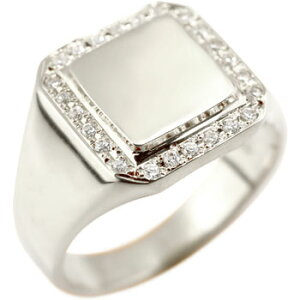 メンズ リング ダイヤモンド 印台 指輪 ホワイトゴールドk18 18金ピンキーリング ダイヤ ストレート 男性用 贈り物 誕生日プレゼント ギフト エンゲージリングのお返し 送料無料