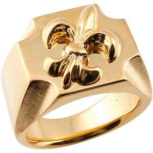 メンズ 印台リング 幅広 指輪 ユリの紋章 ピンクゴールドk18 ピンキーリング 18金ストレート 男性用 贈り物 誕生日プレゼント ギフト エンゲージリングのお返し 送料無料