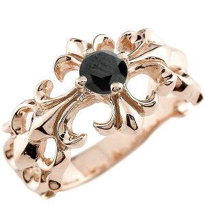 メンズ クロス リング ブラックダイヤモンド ピンクゴールドk18 幅広 指輪 ダイヤ ピンキーリング 18金 男性用 送料無料 人気