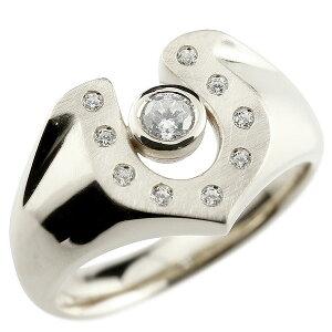 馬蹄 ダイヤモンド プラチナリング 印台 指輪 ダイヤ 一粒 ダイヤモンドリング pt900 蹄鉄 幅広 ストレート 送料無料 LGBTQ ユニセックス 男女兼用