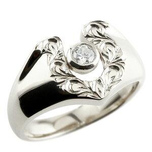 リング メンズ ハワイアンジュエリー キュービックジルコニア ホワイトゴールドk18 スクロール 印台 指輪 一粒 18金 蹄鉄 幅広 男性用 の 送料無料