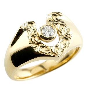 リング ハワイアンジュエリー ダイヤモンド イエローゴールドk18 スクロール 印台 指輪 一粒 ダイヤモンド 18金 蹄鉄 幅広 の 送料無料 LGBTQ ユニセックス 男女兼用