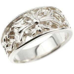 メンズ リング ホワイトゴールドk18 クロス ユリの花 幅広 指輪 地金 リング シンプル 宝石なし ピンキーリング フルール・ド・リス 18金 男性用 の 送料無料