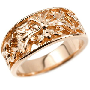 メンズ リング ピンクゴールドk18 クロス ユリの花 幅広 指輪 地金 リング シンプル 宝石なし ピンキーリング フルール・ド・リス 18金 男性用 送料無料