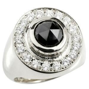 メンズ リング ブラックダイヤモンド キュービックジルコニア シルバー925 印台 幅広 指輪 リング ダイヤ 一粒 大粒 sv925 ピンキーリング 男性用 送料無料