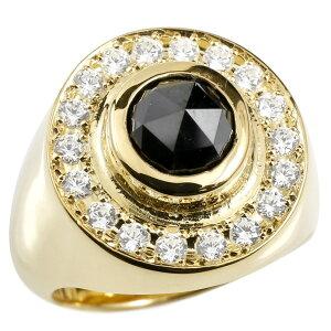 メンズ リング ブラックダイヤモンド キュービックジルコニア イエローゴールドk10 印台 幅広 指輪 リング ダイヤ 一粒 大粒 10金 ピンキーリング 男性用 送料無料
