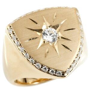 メンズ リング ダイヤモンド ピンクゴールドk10 印台 幅広 指輪 つや消し サテン仕上げ リング ダイヤ 一粒 大粒 ロータリー型 10金 ピンキーリング 送料無料