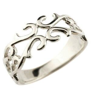 メンズ ピンキーリング 指輪 地金リング 透かし ホワイトゴールドk10 アラベスク ストレート 宝石無し 10金 宝石 送料無料 人気